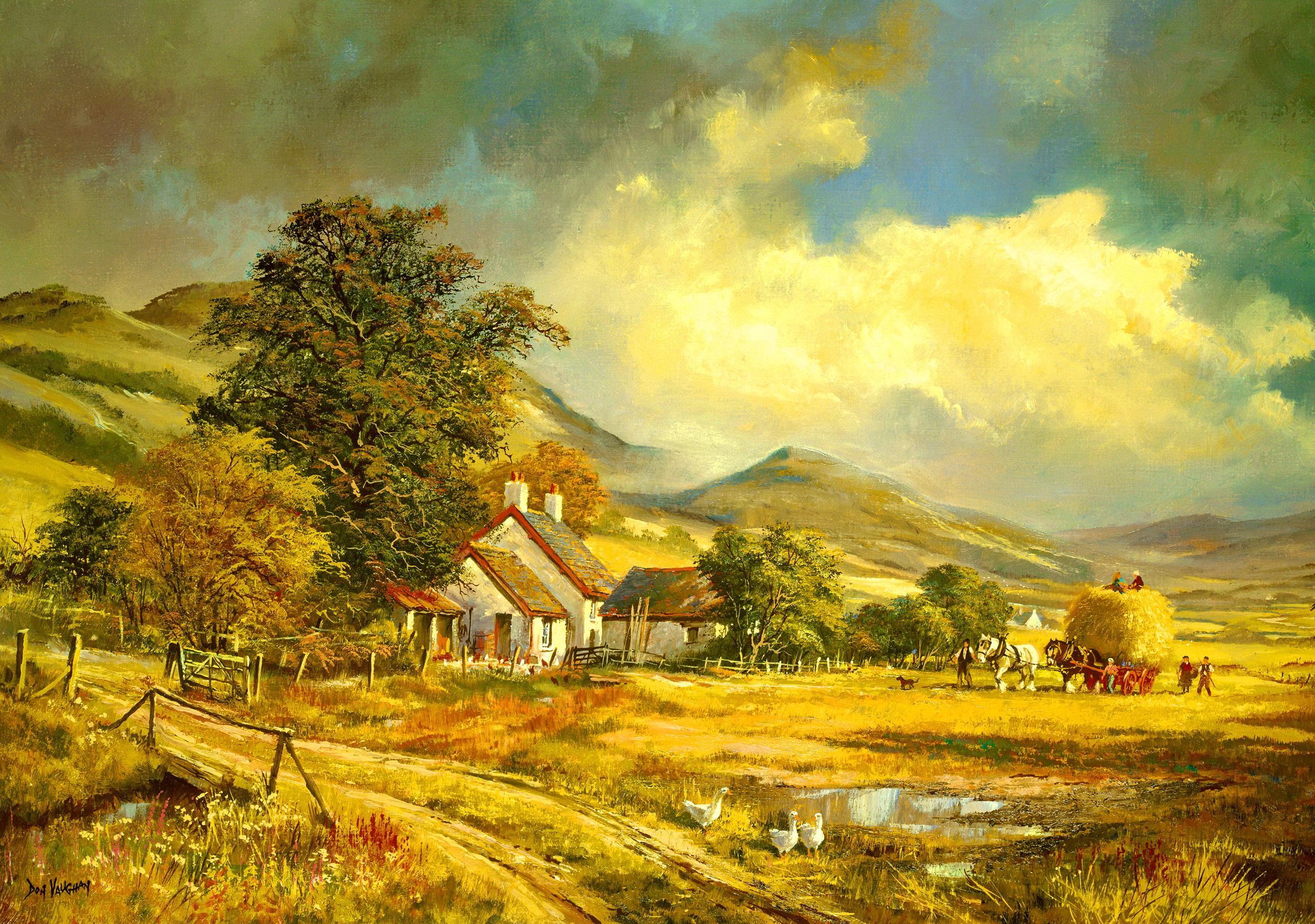 Farm Painting Hd Wallpaper Wallpaper List 2500x1757