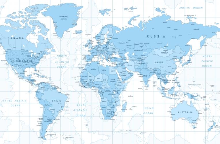 World map wallpaper uk wallpapersafari for Blue world map mural