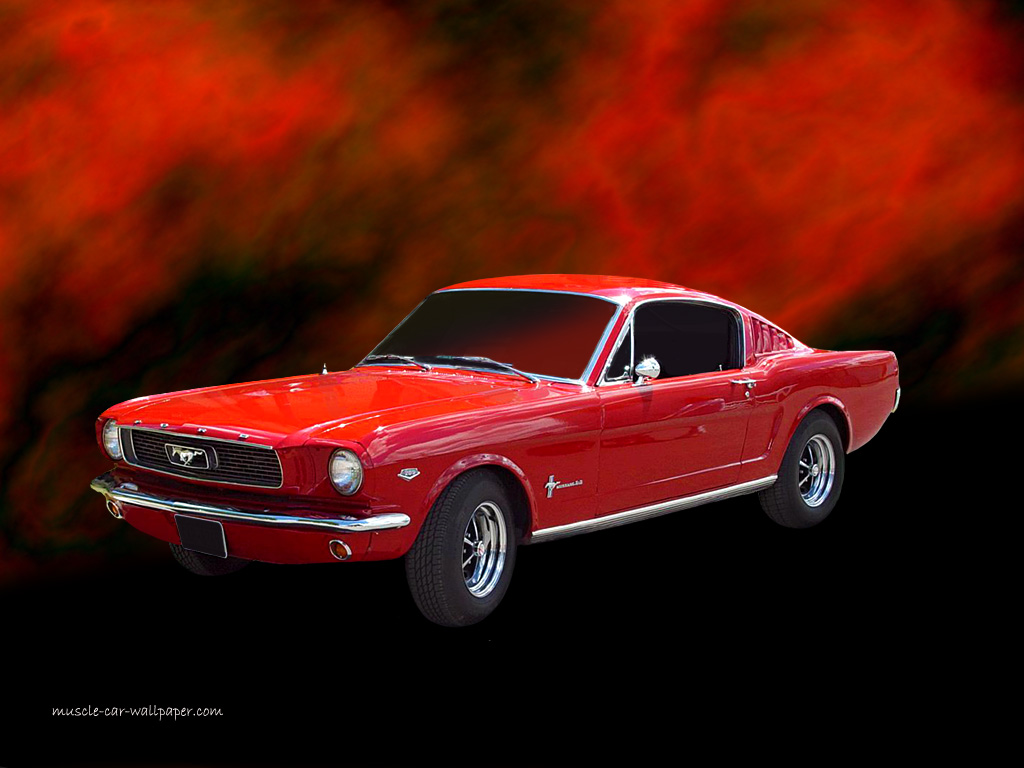 1965 Ford Mustang Wallpaper   Red Fastback   Left Front View 1024x768