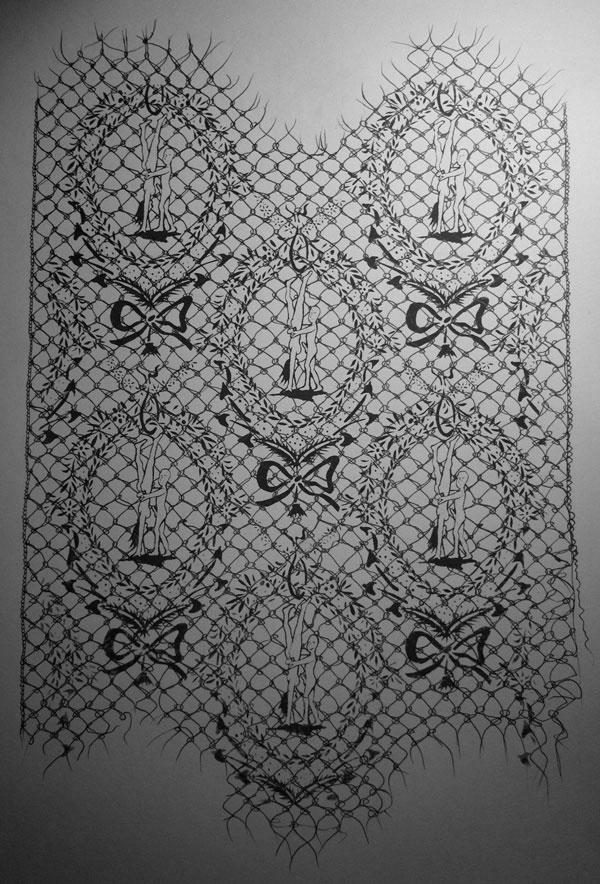 sheffield based artist bloc studios lace erotic wallpaper hand printed 600x884
