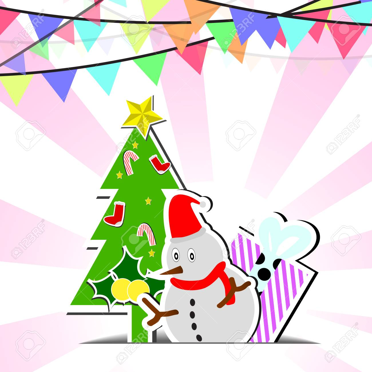 Vector Snowman And Flags On Chirstmas Background Royalty 1300x1300