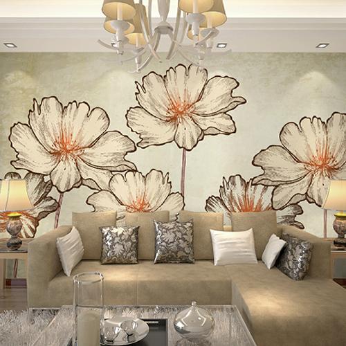 hand painted floral wallpaper TV backdrop living room wallpaper murals 500x500