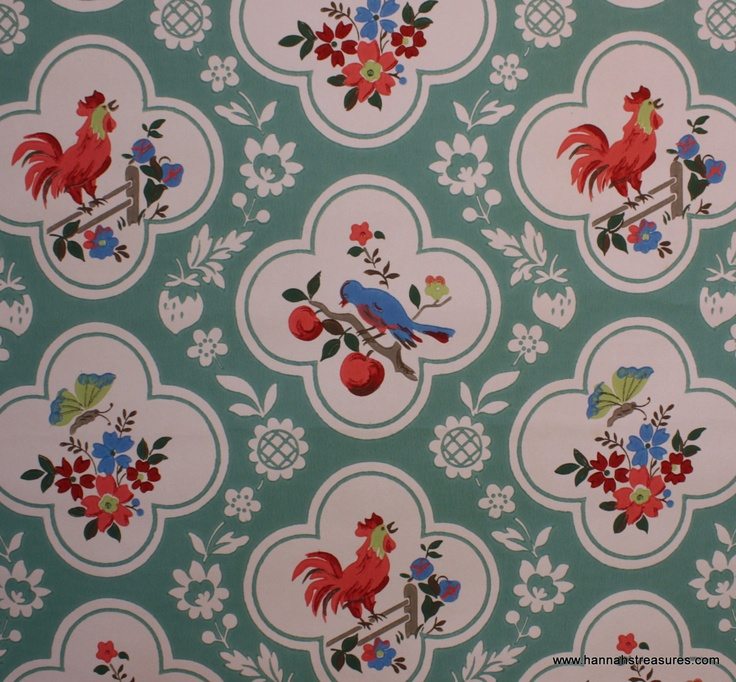 1940s Vintage Wallpaper Red and Aqua with birds cherries roosters bu 736x682