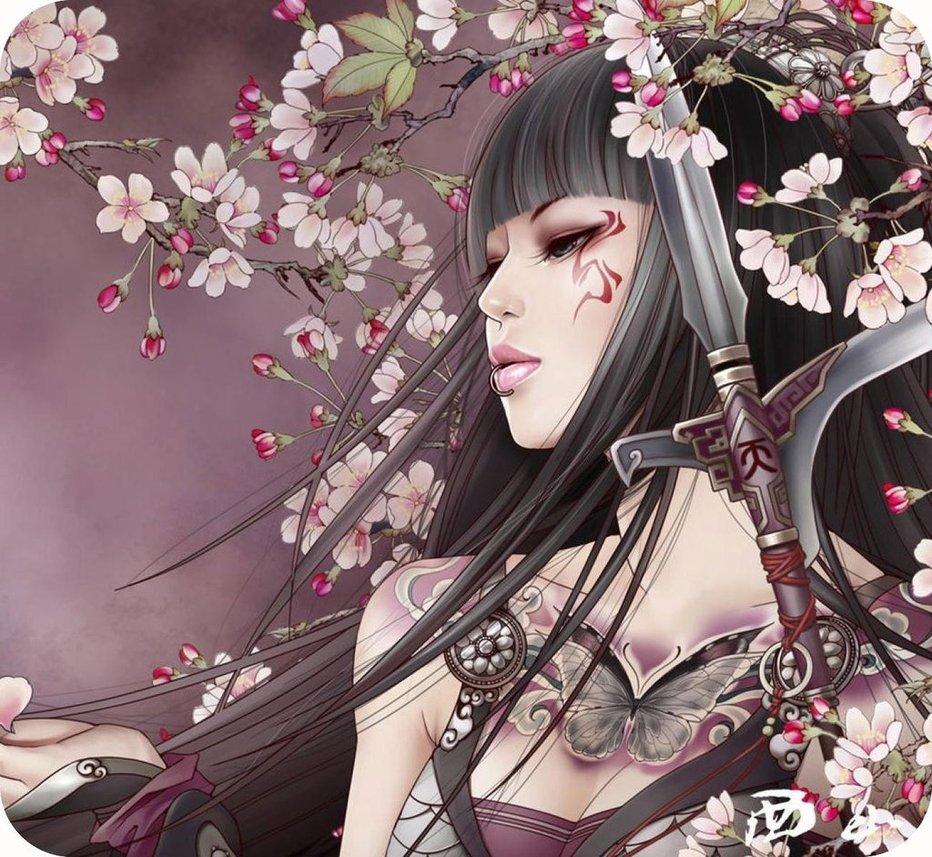 Japanese Tattoo Wallpapers: Anime Samurai Girl Wallpaper