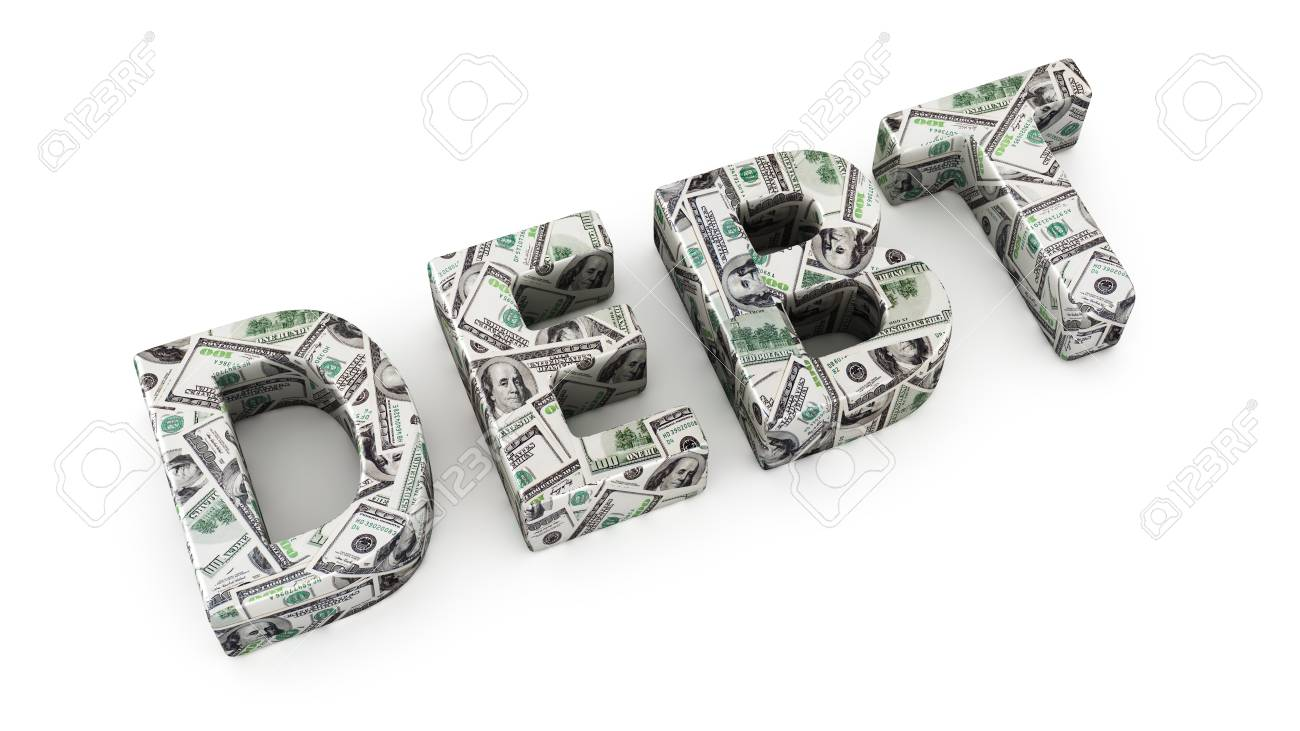 Word DEBT Made From Dollar Banknotes On White Background Stock 1300x731