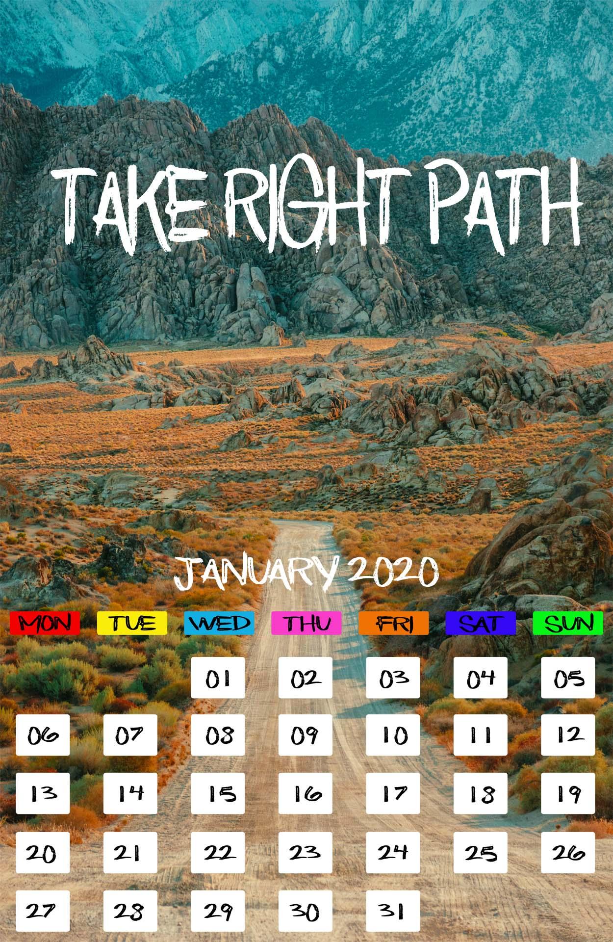 January 2020 Calendar iPhone Desktop Mobile Tablet Wallpapers 1250x1920