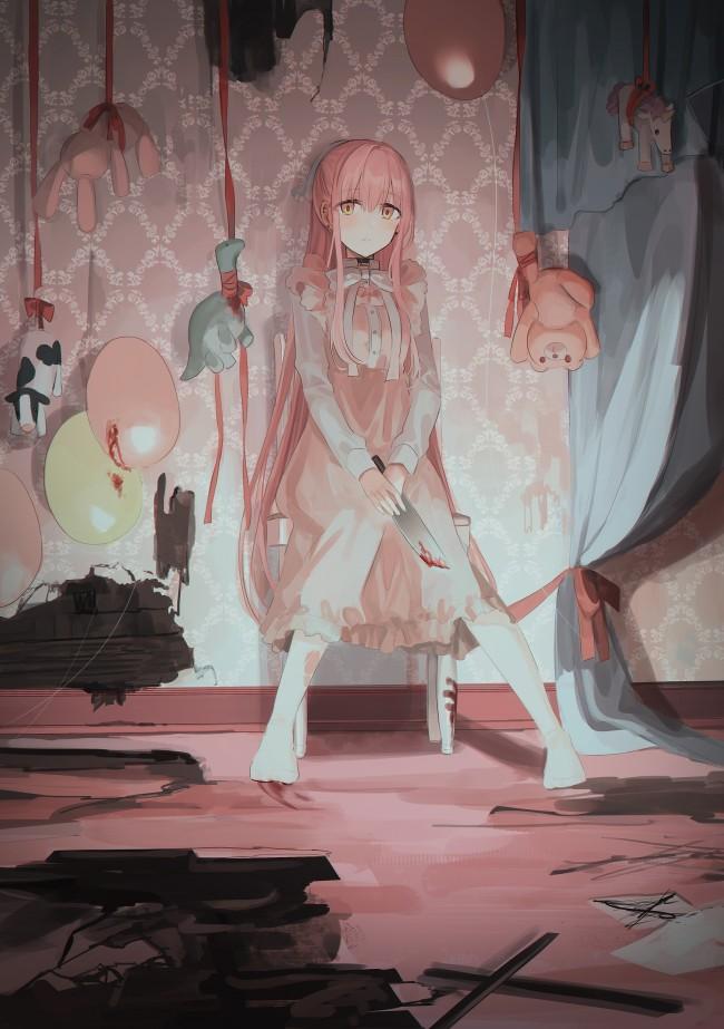 Wallpaper Yandere Anime Girl Room Balloons Teddy Bears Sadness 650x923