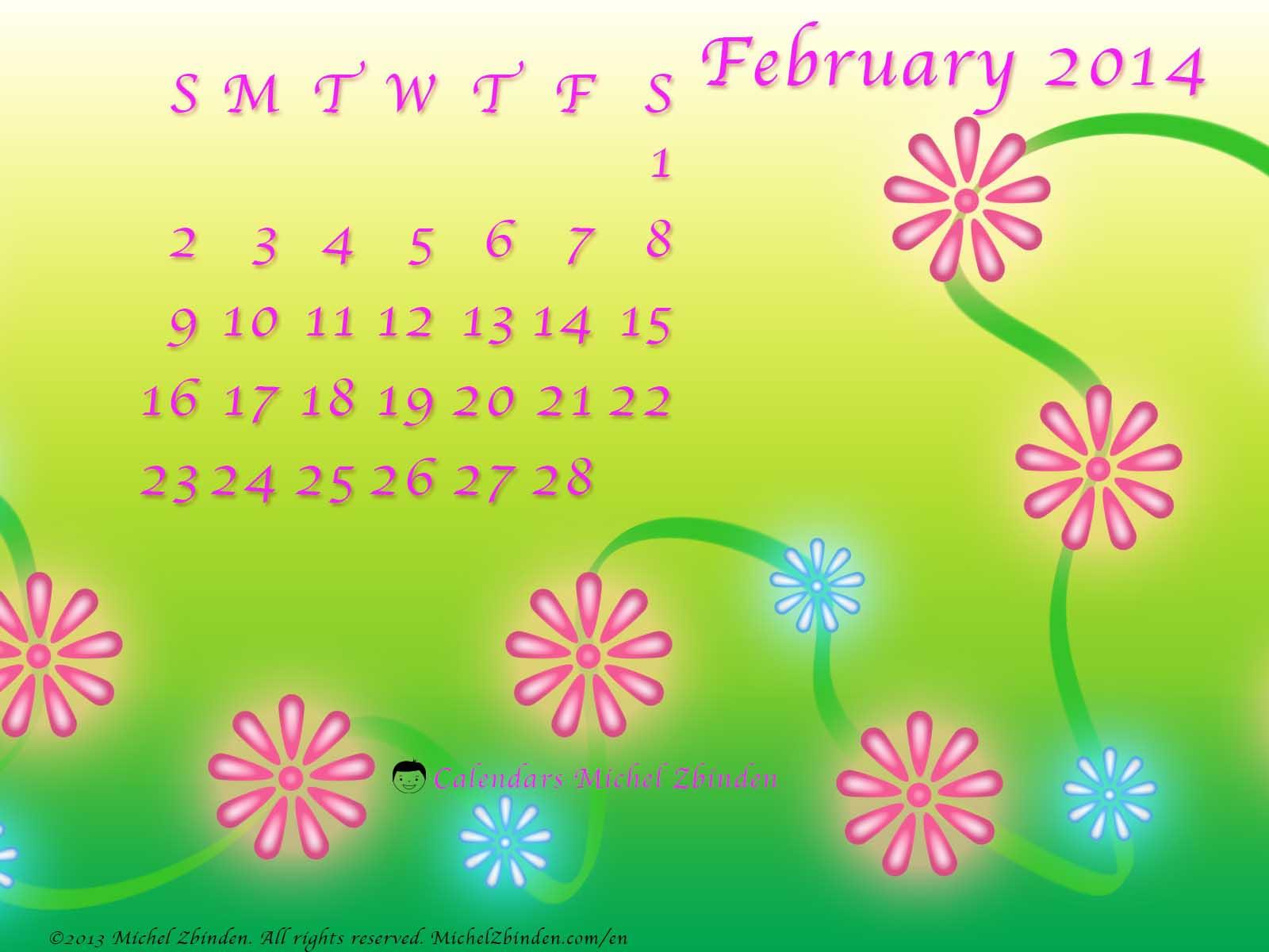 Best February 2014 Desktop Wallpaper Calendars TECHProPel 1600x1200
