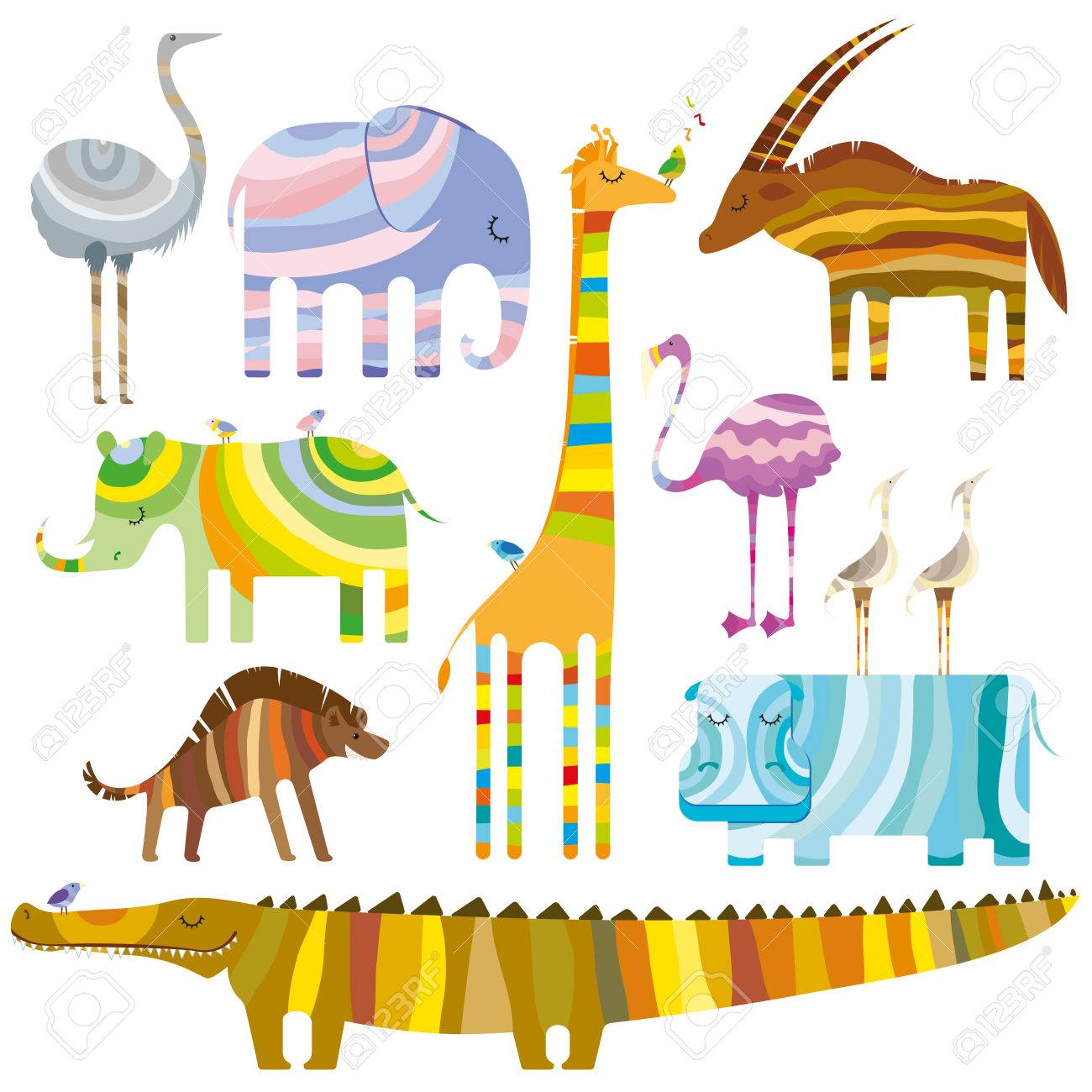 Some Colourful African Animals In Dreamtime On White Background 1300x1300