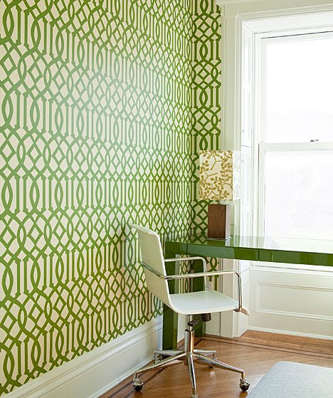 green and white Kell Wearstler Imperial Trellis wallpaper and a green 468x559