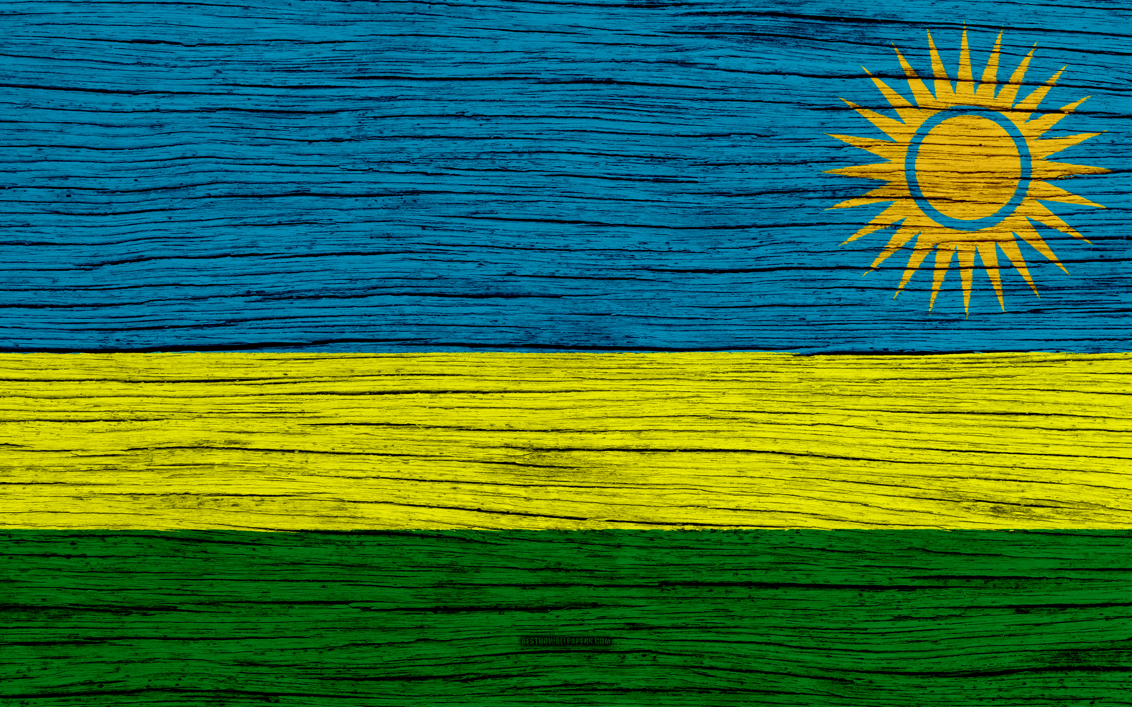 Download wallpapers Flag of Rwanda 4k Africa wooden texture 3840x2400