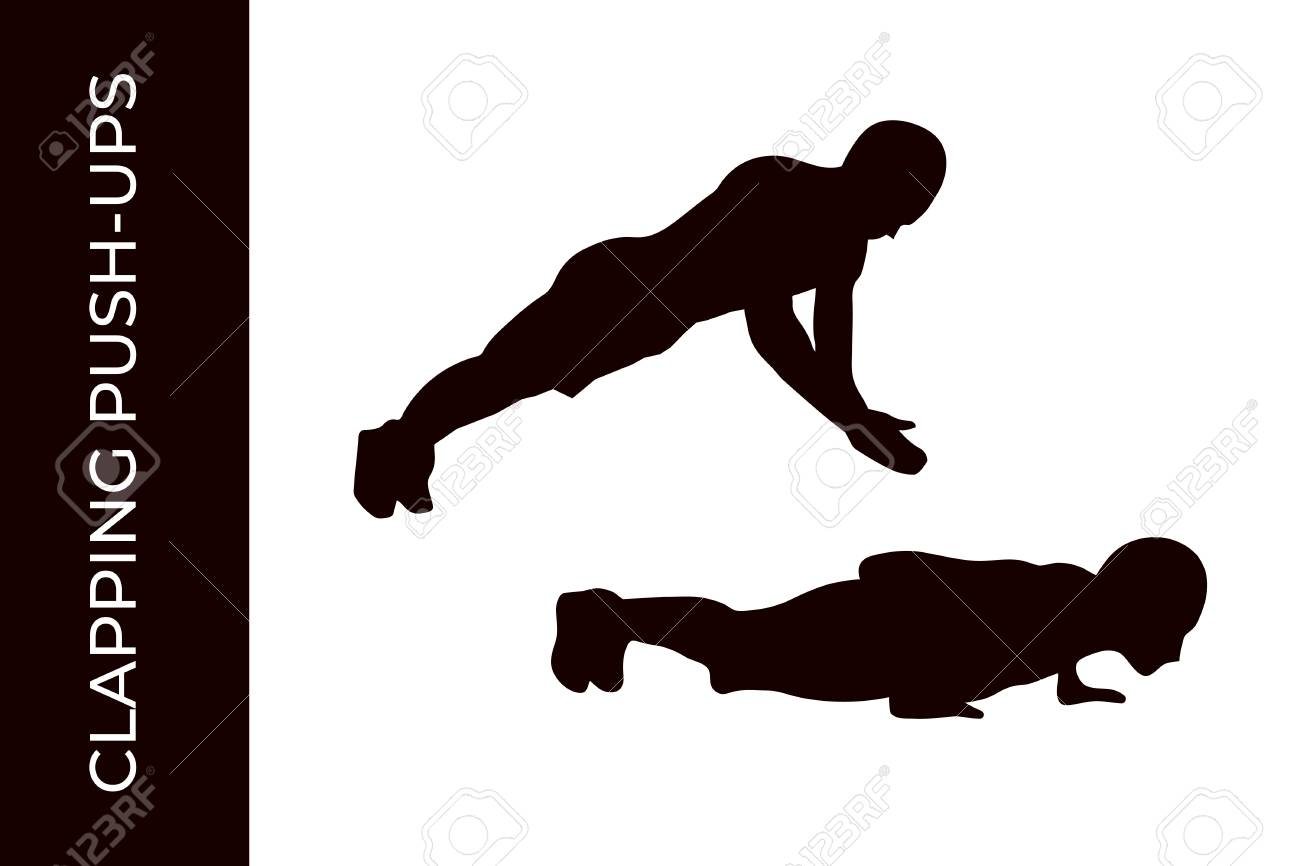 Male Silhouette Doing Calisthenics Clapping Push ups Exercise 1300x866