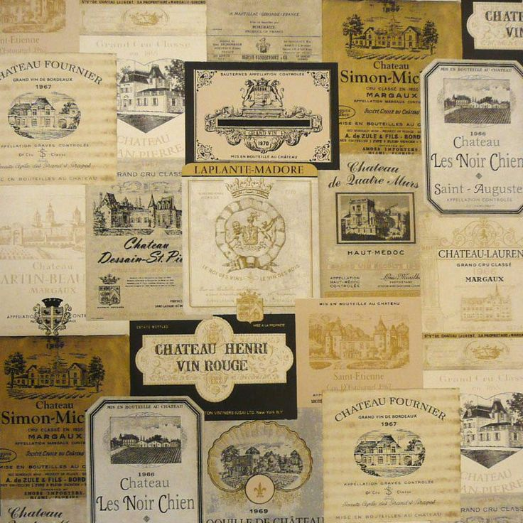 Vintage Wine Label Wallpaper French Kitchen Cafe Bar Old Country 736x736