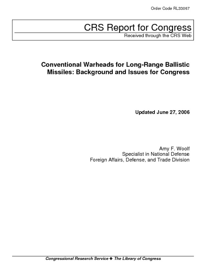 Conventional Warheads for Long Range Ballistic Missiles 700x906