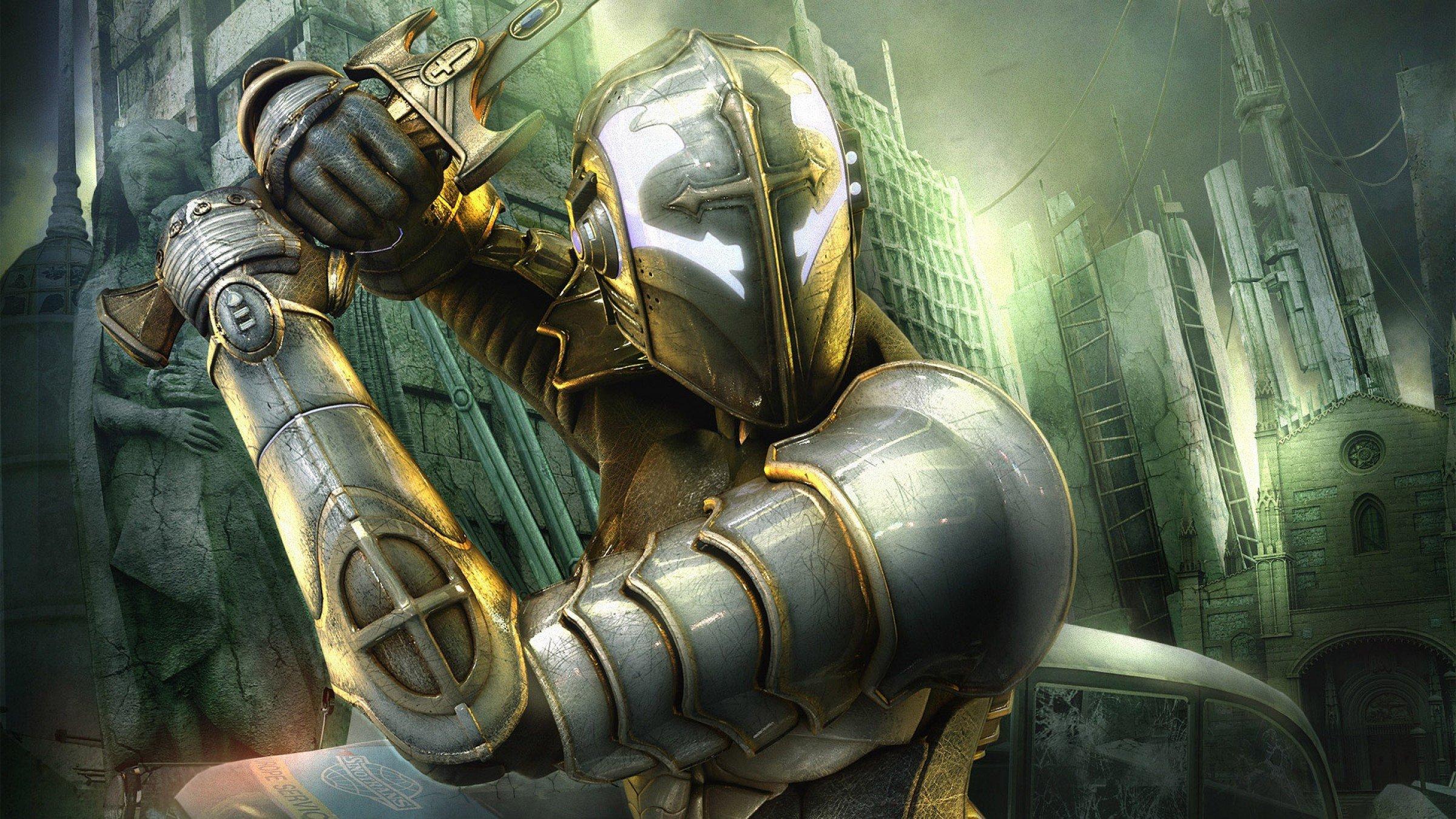 LONDON fantasy action sci fi warrior knight armor wallpaper background 2400x1350