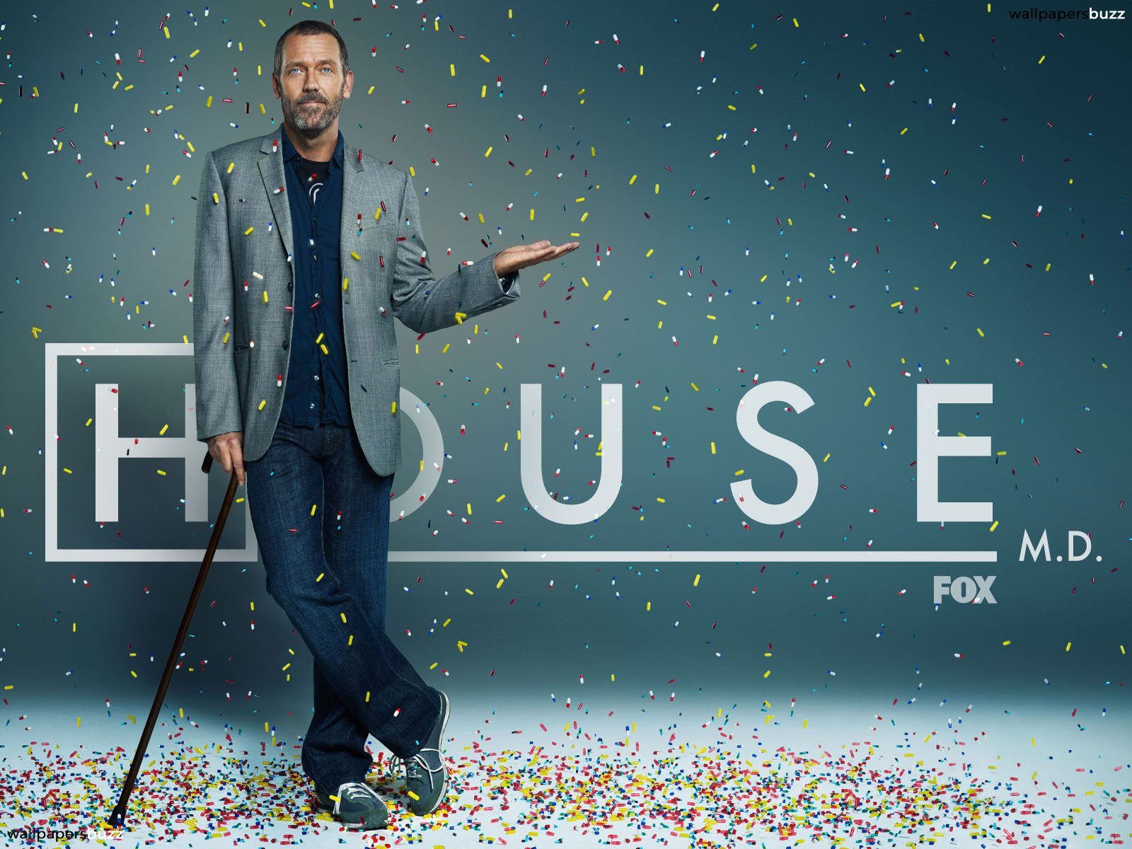 Gregory House and vicodin HD Wallpaper 1600x1200
