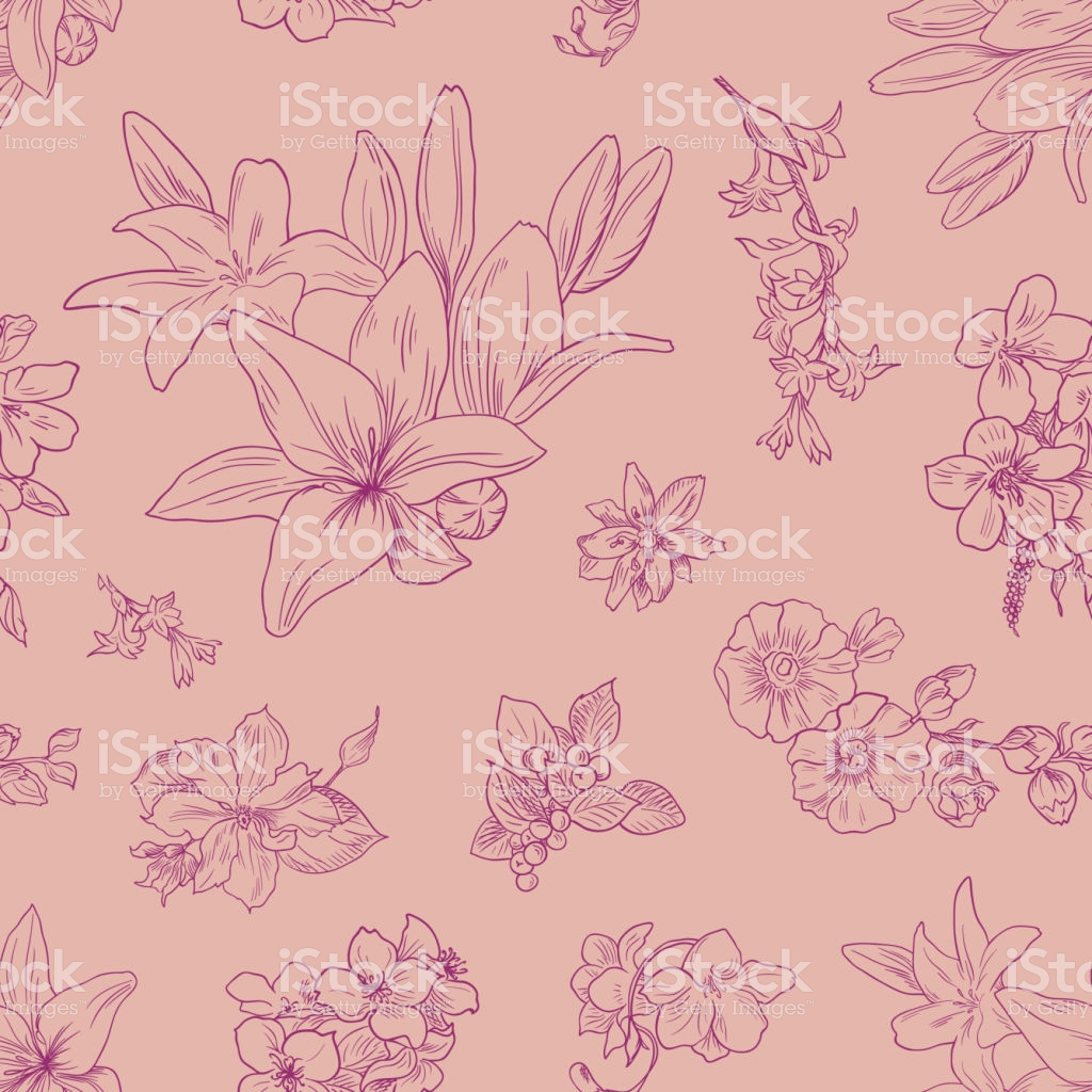 Lily Pattern Floral Ornament Toile De Jouy Seamless Background 1024x1024