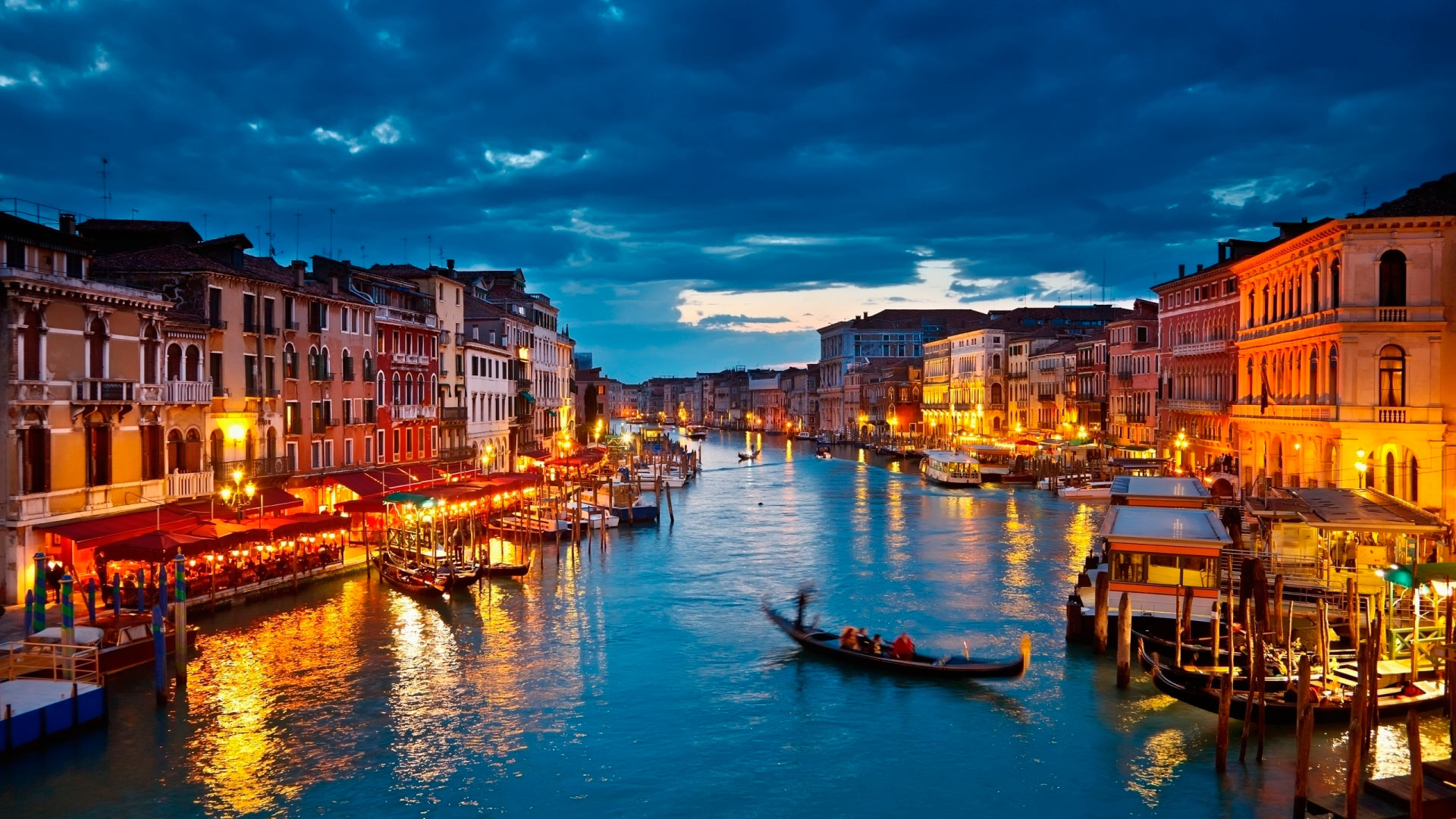 Romantic Venice At Night HD Wallpaper Background Images 1920x1080