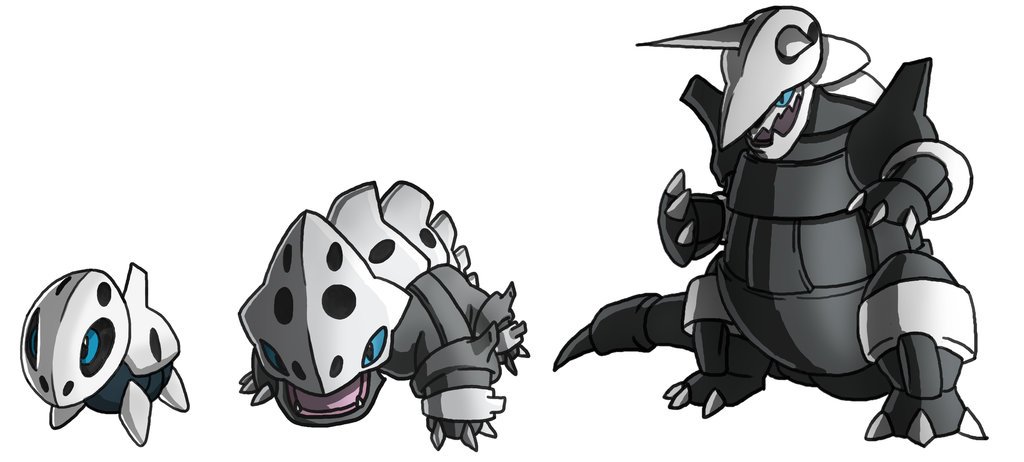 Pokemon Aron Lairon Aggron Evolution by twinkietoaster on 1024x462
