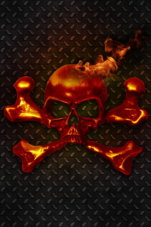 Flaming Skull Crossbones Retina Display Wallpaper iPhone Fan Site 640x960