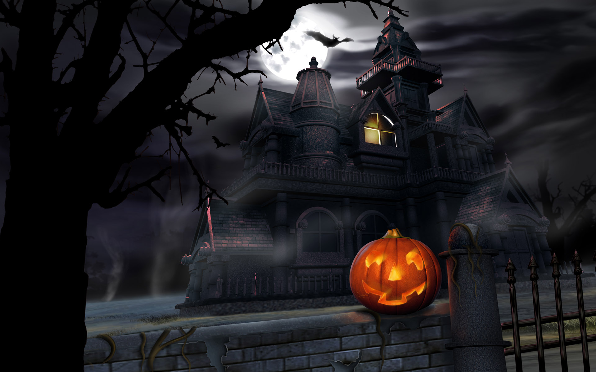 haunted house themes on halloween day 1920x1200