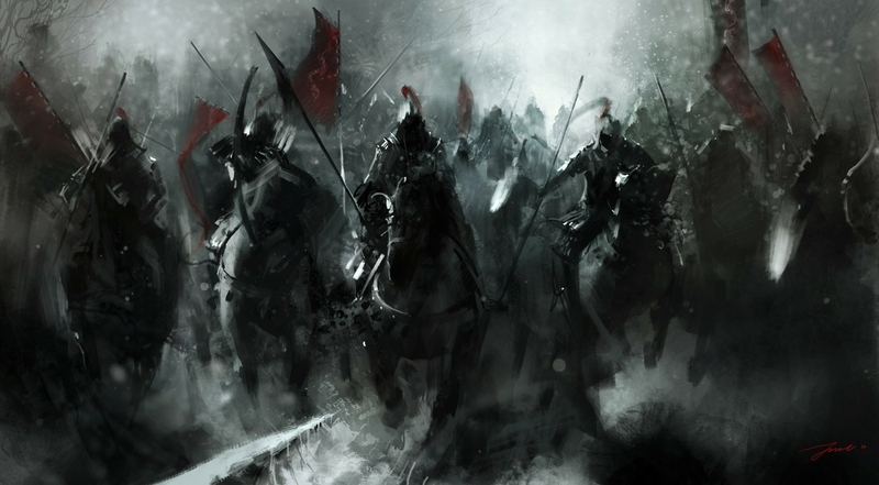 war black army battle knights army of darkness horses red flag 800x441