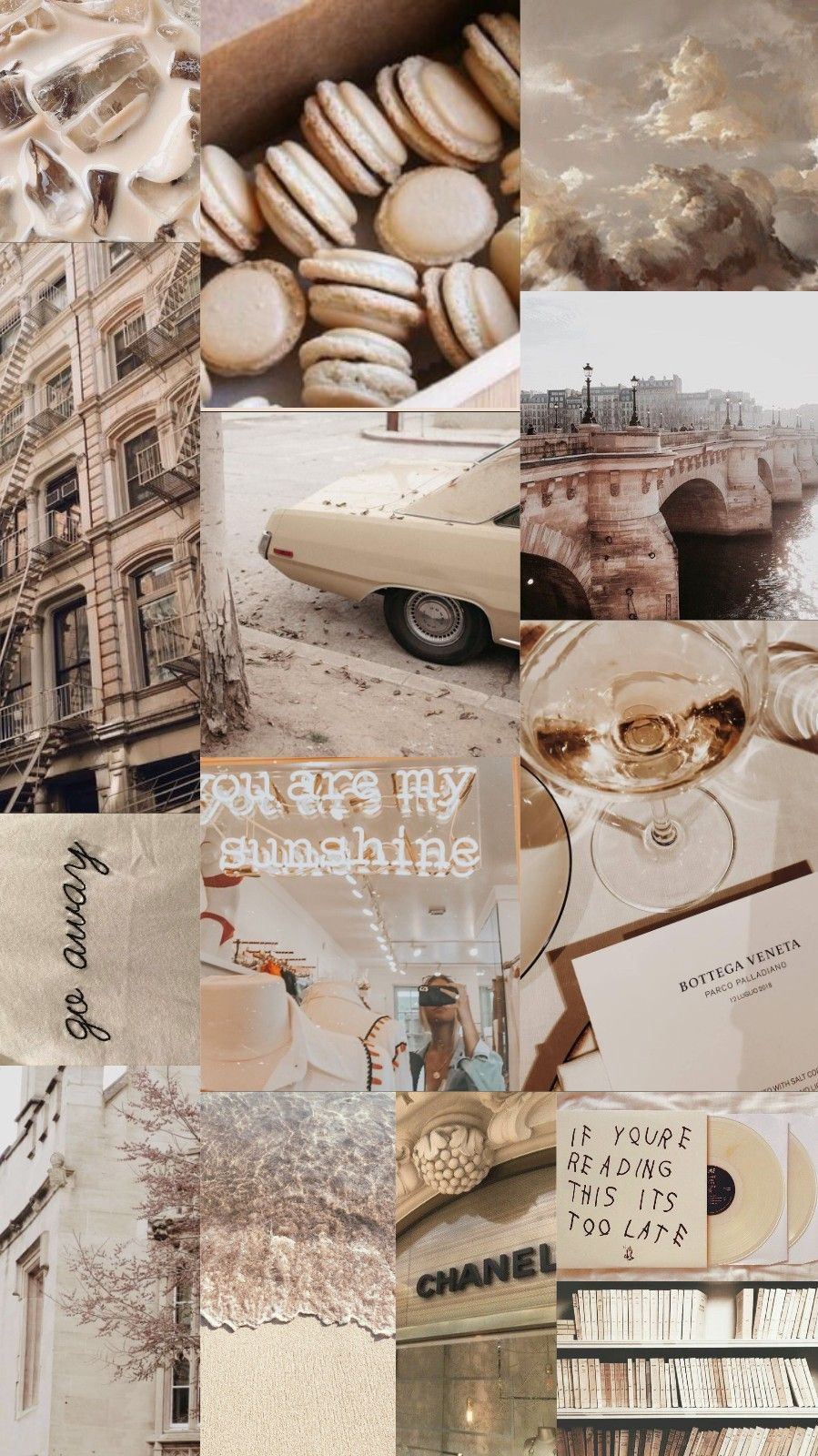 Wallpaper background collage aesthetic music color beige 899x1600
