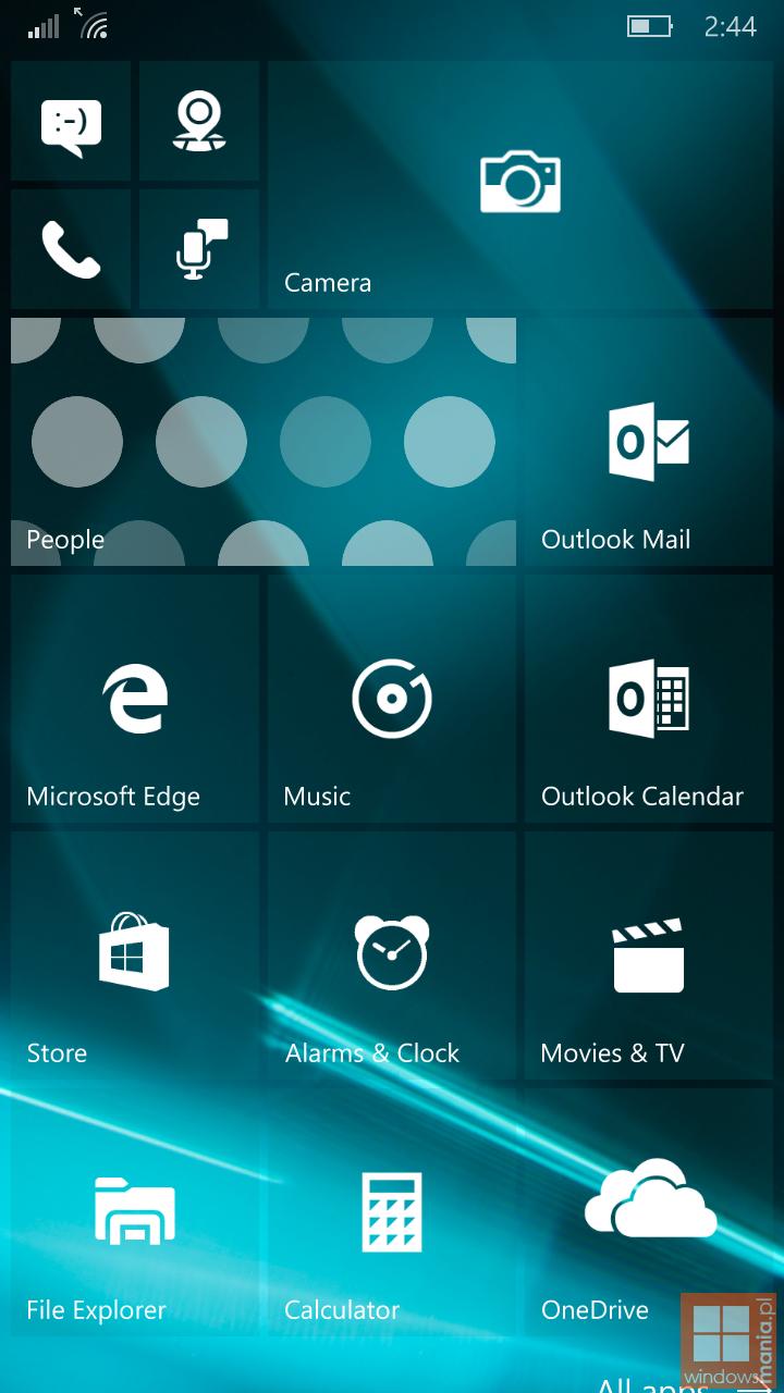 Windows 10 Mobile Build 10162 Screenshots Wallpaper geleakt 720x1280