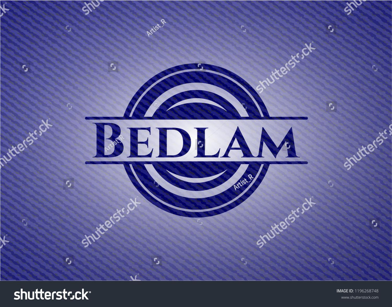 Bedlam Badge Denim Background Stock Vector Royalty 1196268748 1500x1173
