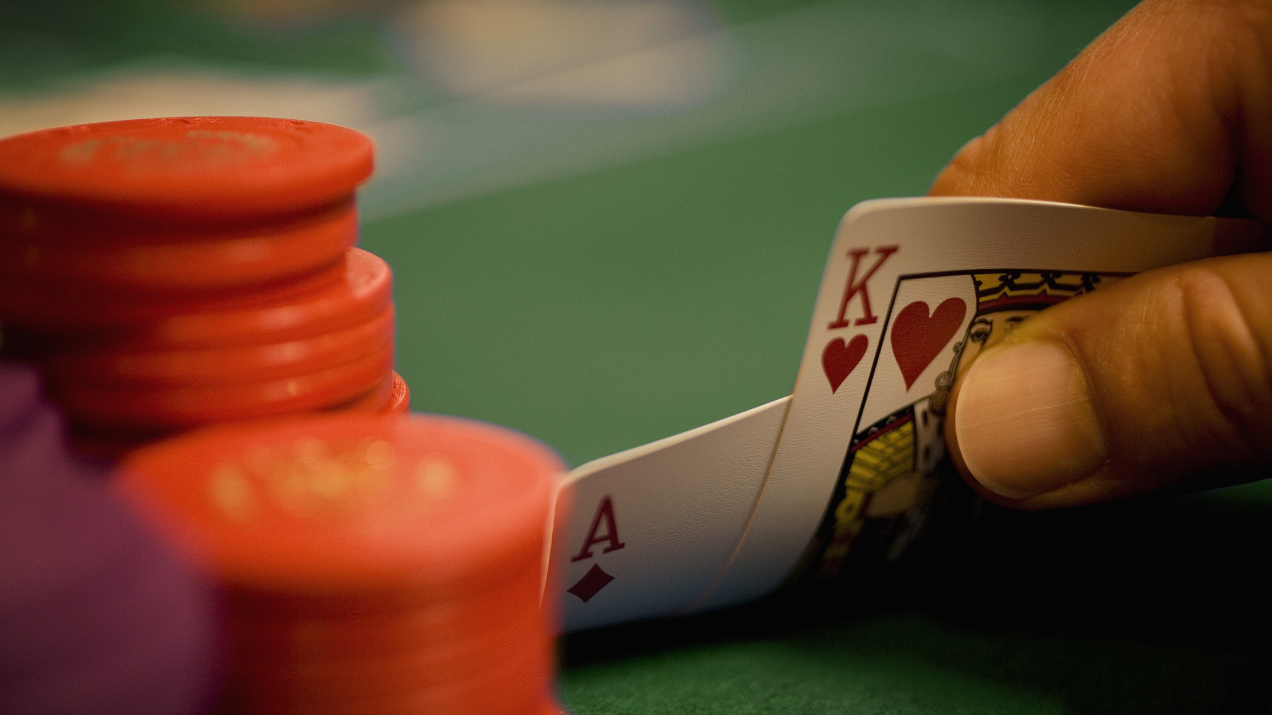 cards poker Ace king poker chips game Poker Table wallpaper background 2560x1440