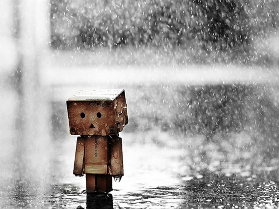 Sad mood sorrow dark people love danbo rain drops wallpaper 933x700