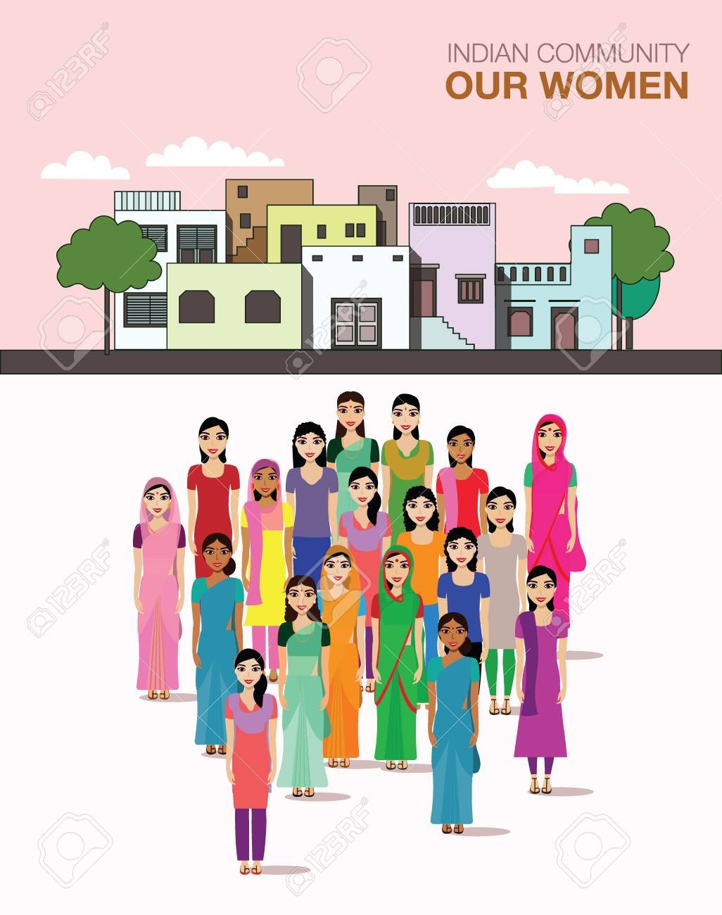 Big Crowd Of Indian Women Vector Avatars On Indian Town Background 1026x1300