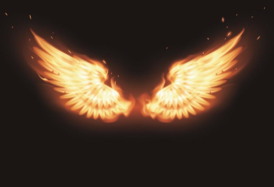 Laeacco Angel Wings Burning Fire Baby Portrait Children 900x613