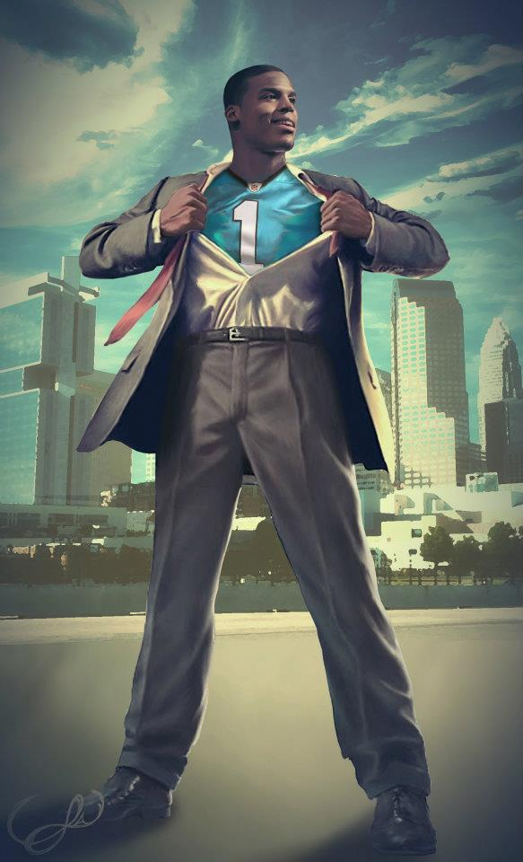Cam Newton painting has Blessed Individual as Carolina superman The 583x960