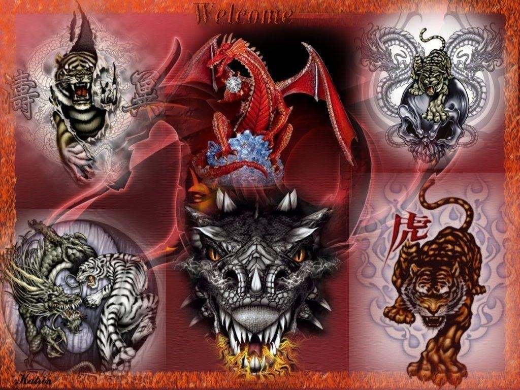 Tiger And Dragon Wallpaper for Pinterest 1024x768