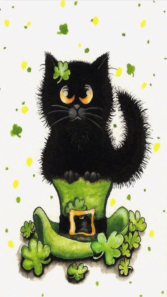 iPhone Wallpaper   St Patricks Day tjn Black cat art Happy st 576x1024