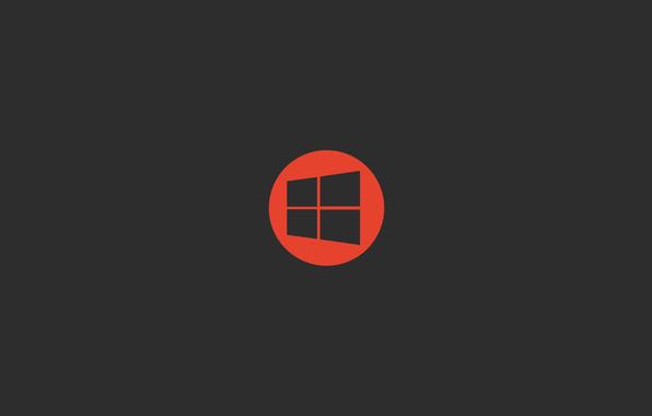 windows 10 microsoft orange logo hi tech wallpapers minimalism 596x380