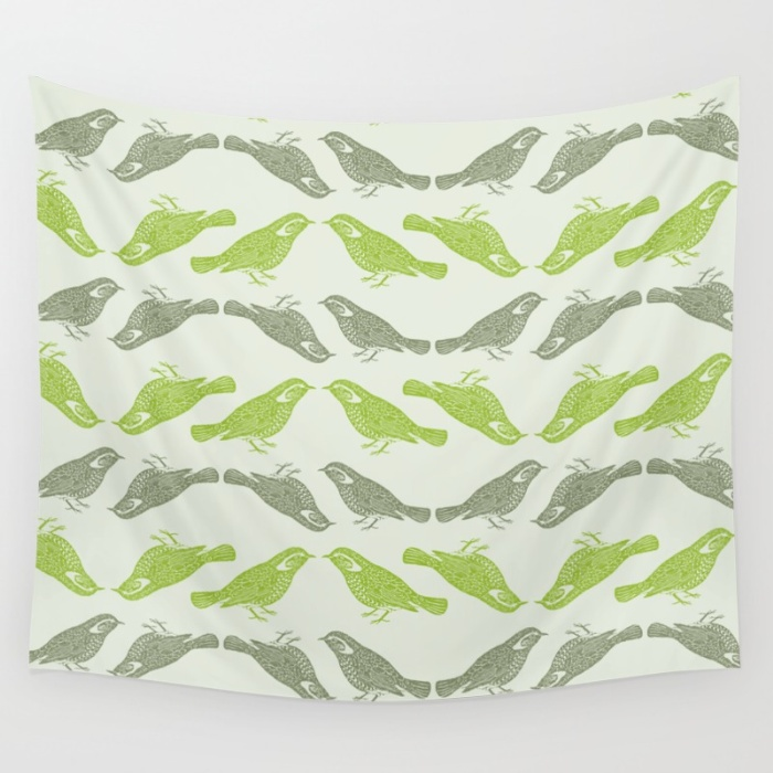 Little Bird green Wall Tapestry by The Wallpaper Files Society6 700x700