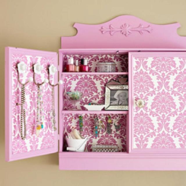 Paint wallpaper renew old cabinet Ok Ill try it DIY Pinterest 640x640