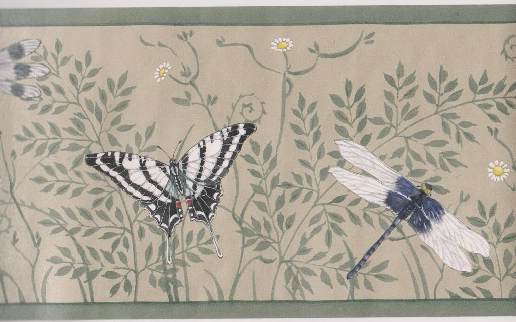 Metallic Butterflies Dragonflies Green Trim Wallpaper Border Seabrook 1024x639