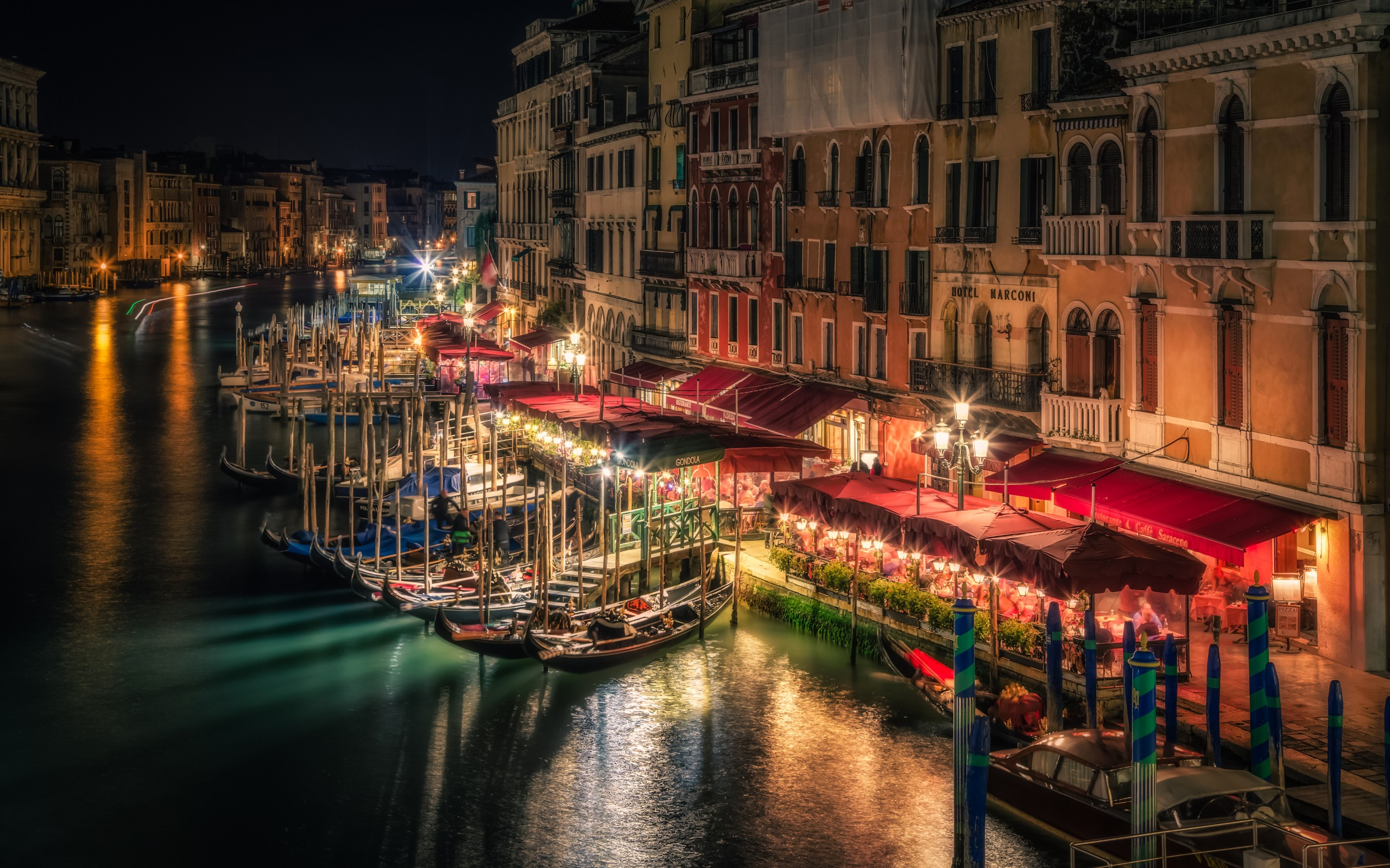 Grand Canal in Venice Italy at Night HD Wallpaper Background 2560x1600