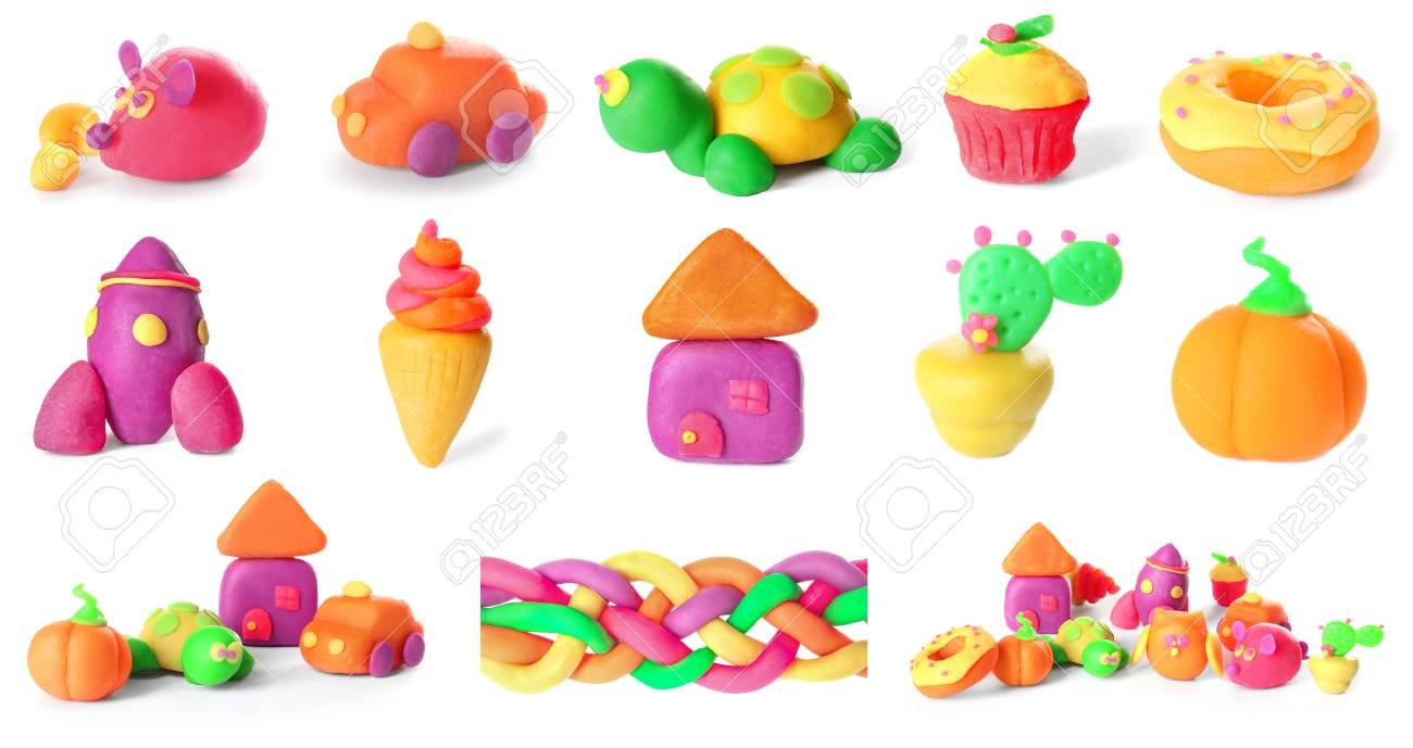 Different Figures Of Play Dough On White Background Stock Photo 1300x689