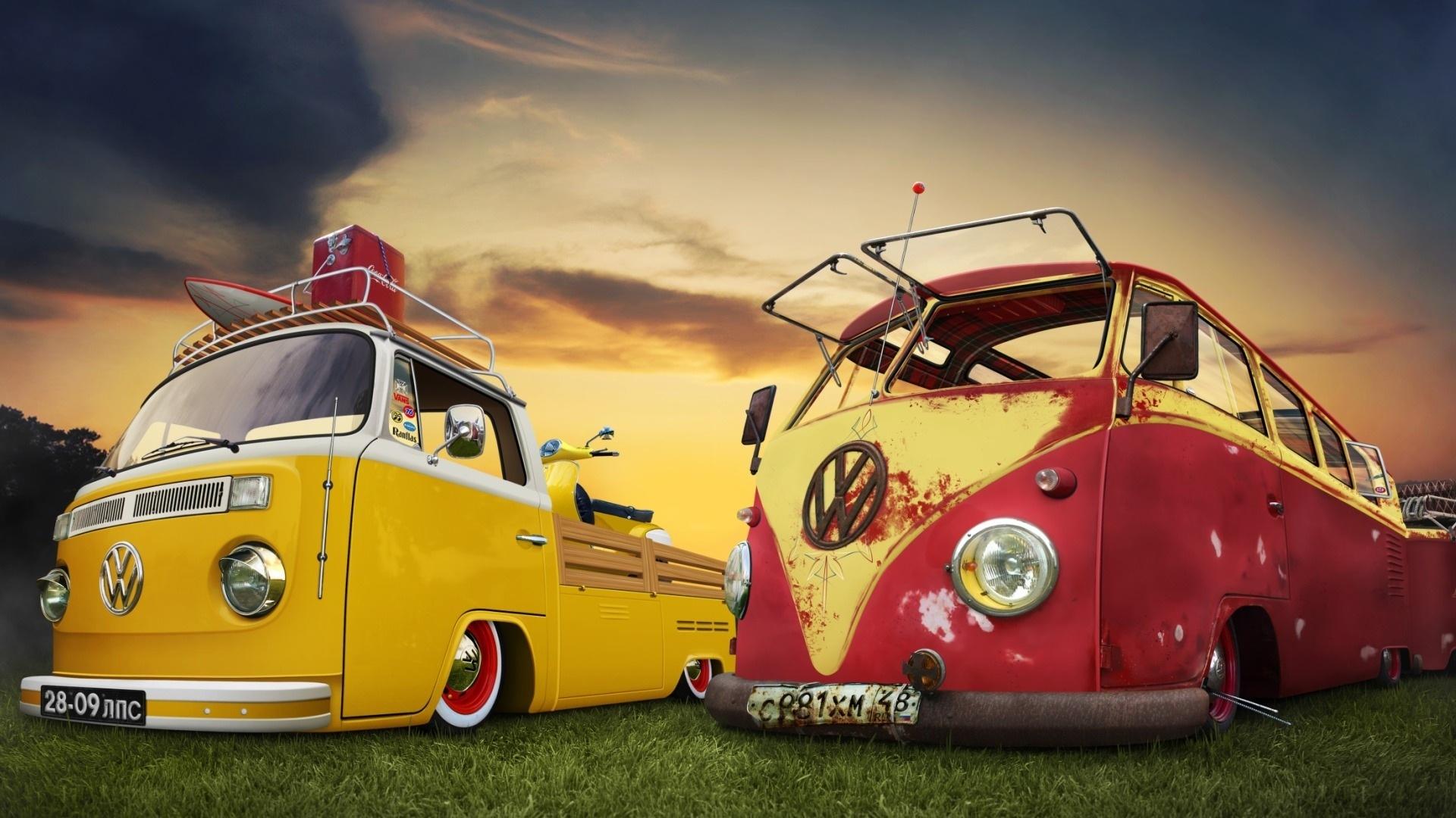 vw combi van hd desktop wallpapers volkswagen hippie bus 1920x1080