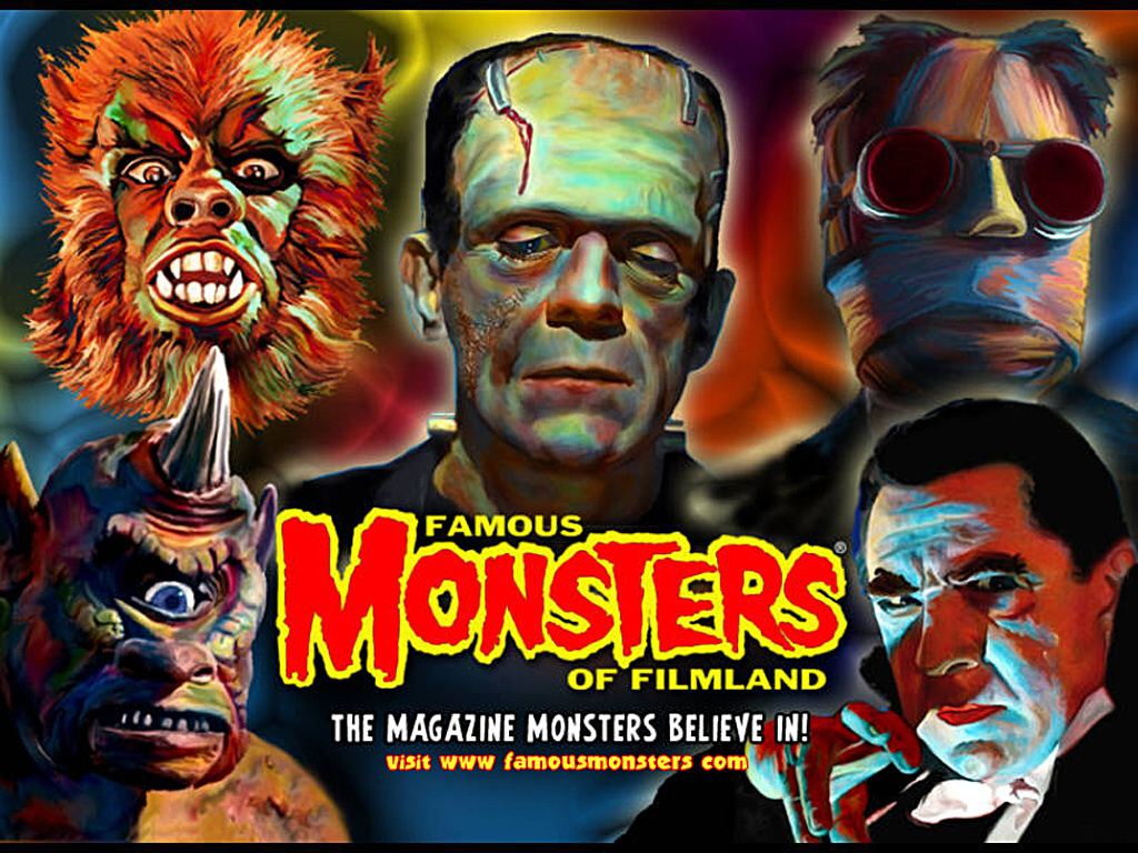 free classic horror movie monsters desktop wallpaper collage of 1024x768