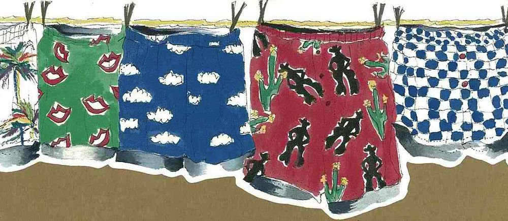 Laundry Clothes Line Wallpaper Border Mens Shorts Multi Color Seabrook 1000x435