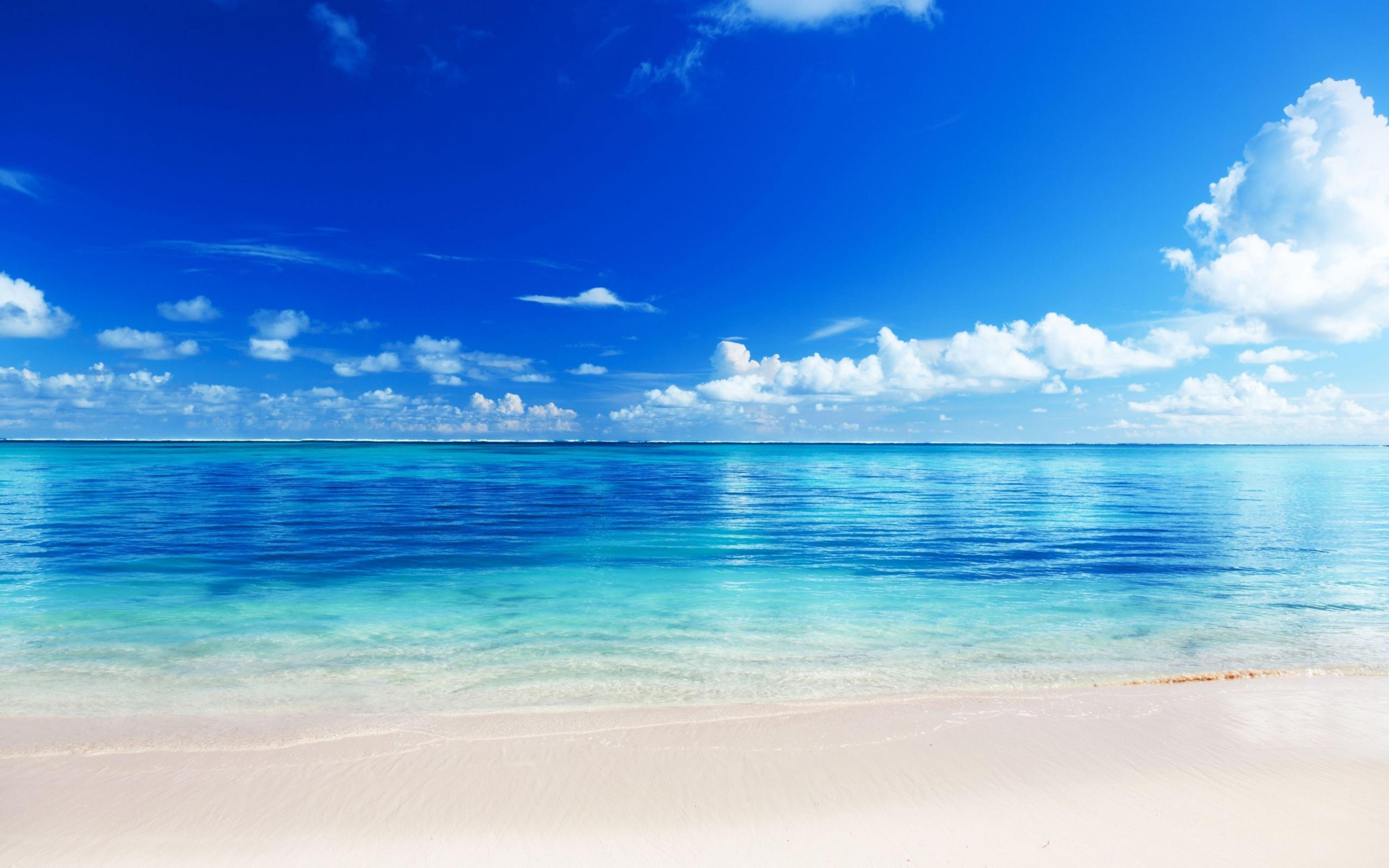 Free Download Wallpaper 3840x2400 Sea Beach Horizon Sand Tropics