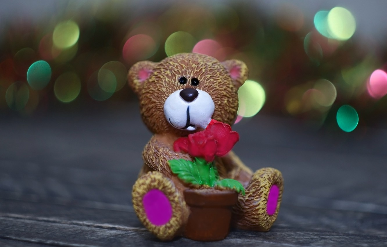 Wallpaper background toy bear figurine bokeh images for 1332x850