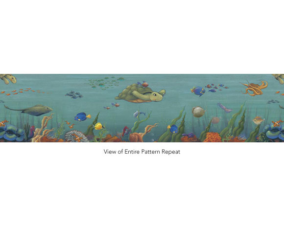 Undersea Pre Pasted Wallpaper Border   RosenberryRoomscom 580x460