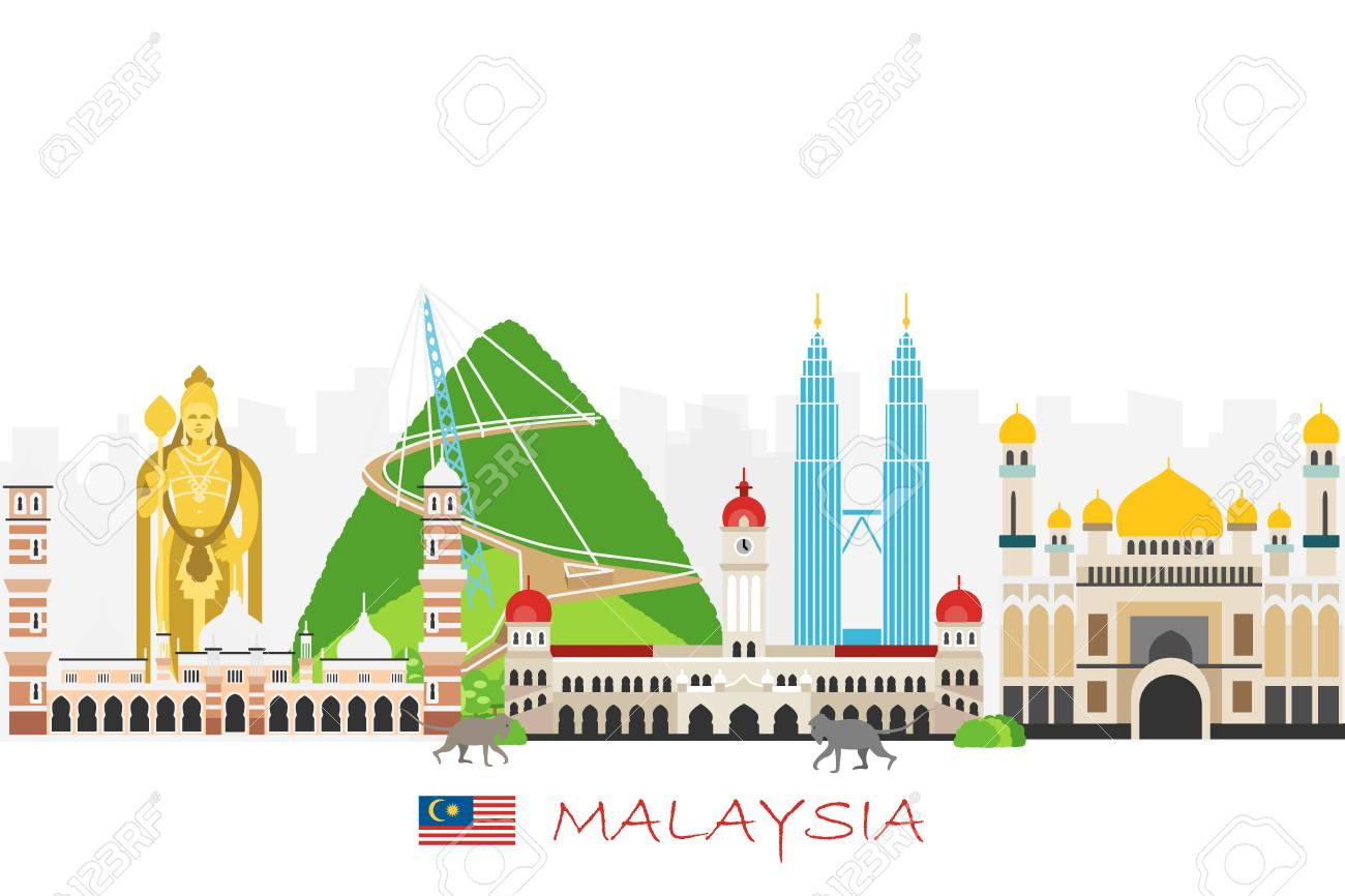 Travel Background With Landmarks Of Malaysia Web Advertising 1300x866