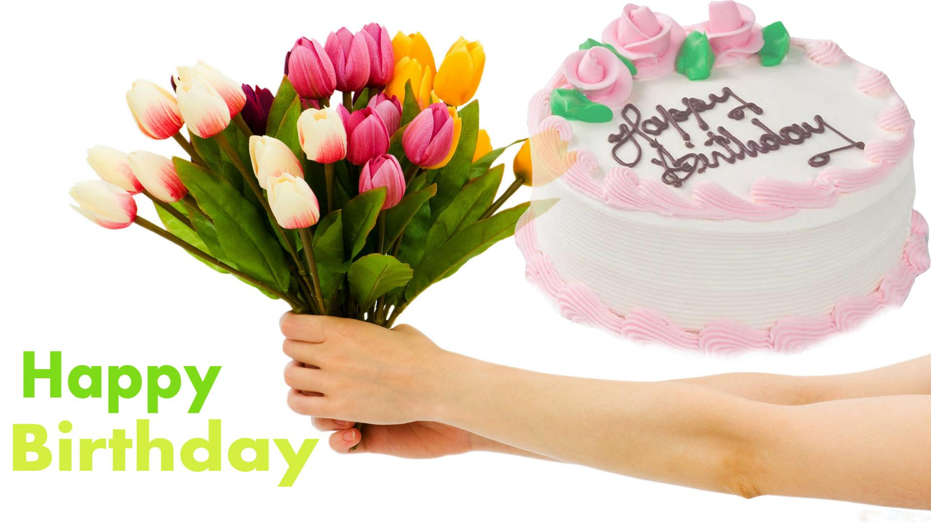 Happy Birthday Cake And Flowers Wallpaper HD Wallpapers 1920x1080
